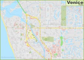 Large detailed map of Venice