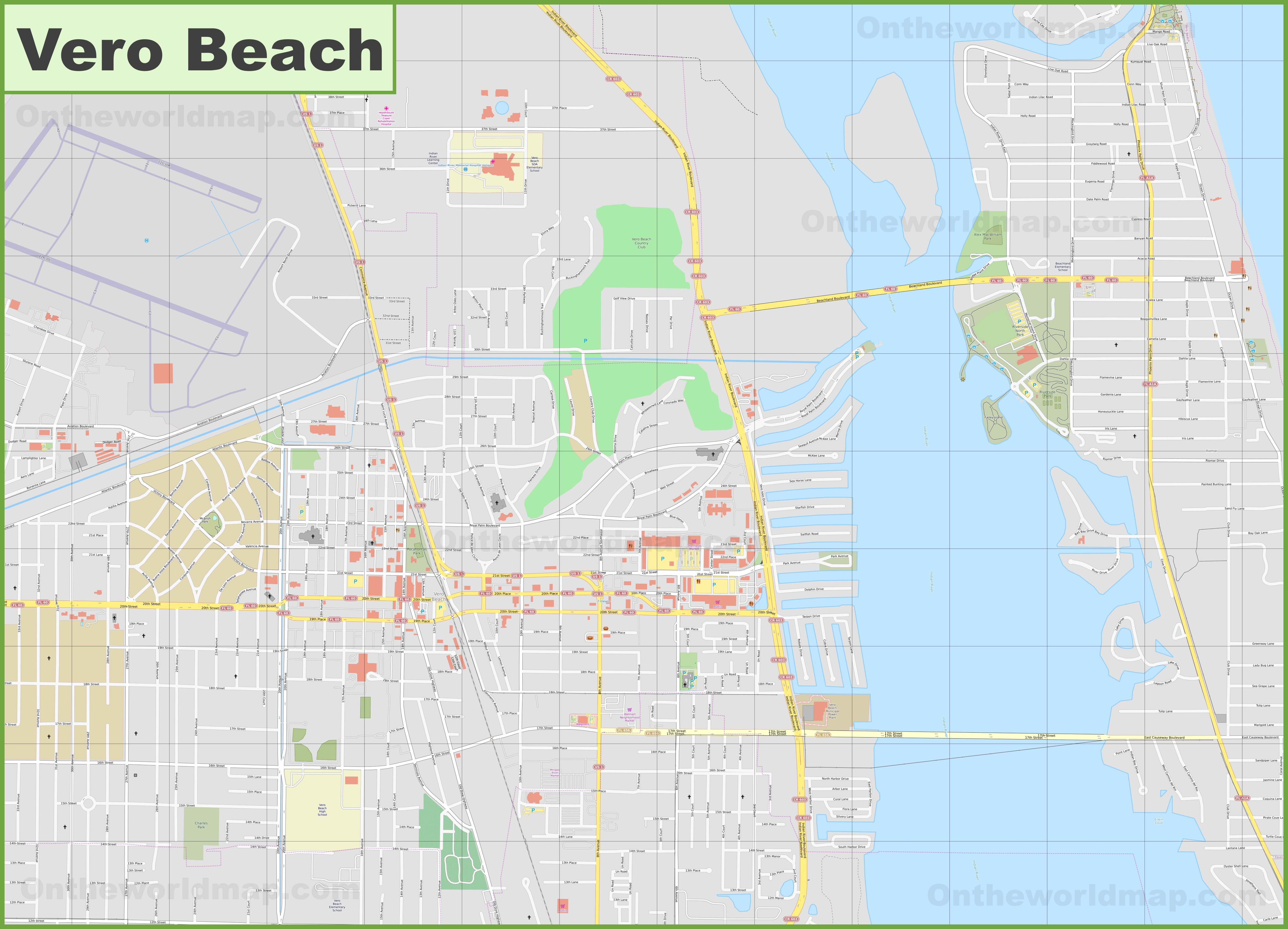 Map Of Florida Showing Vero Beach.Large Detailed Map Of Vero Beach