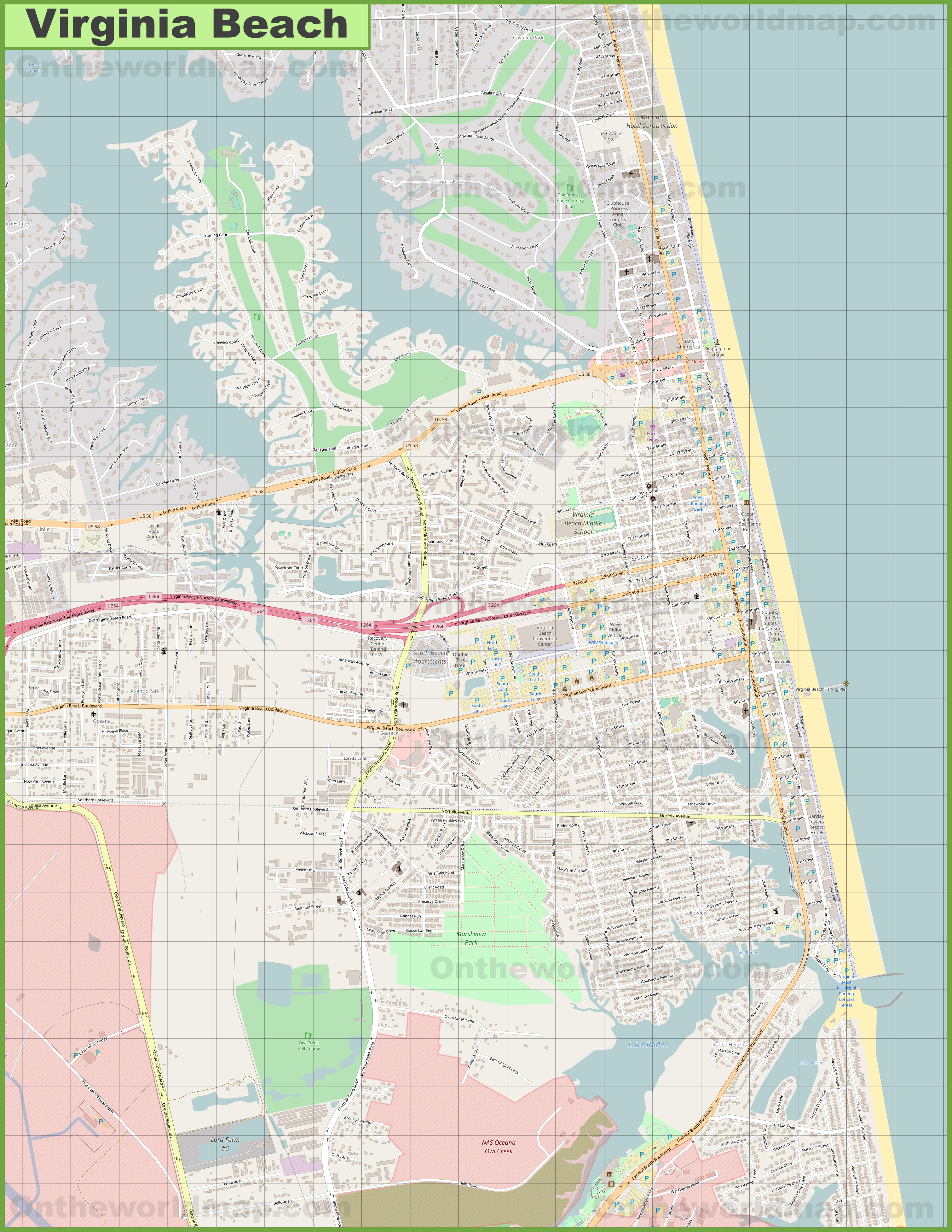Large Detailed Map Of Virginia Beach