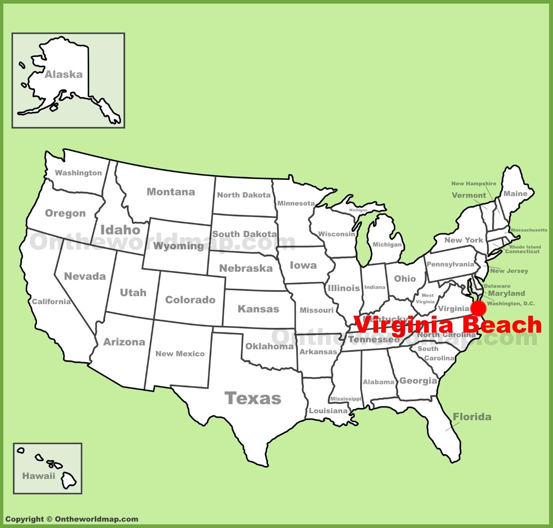 Virginia Beach Map Virginia Beach location on the U.S. Map Virginia Beach Map