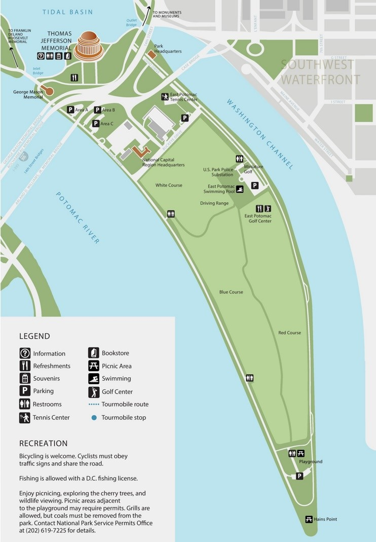 Hains Point tourist map