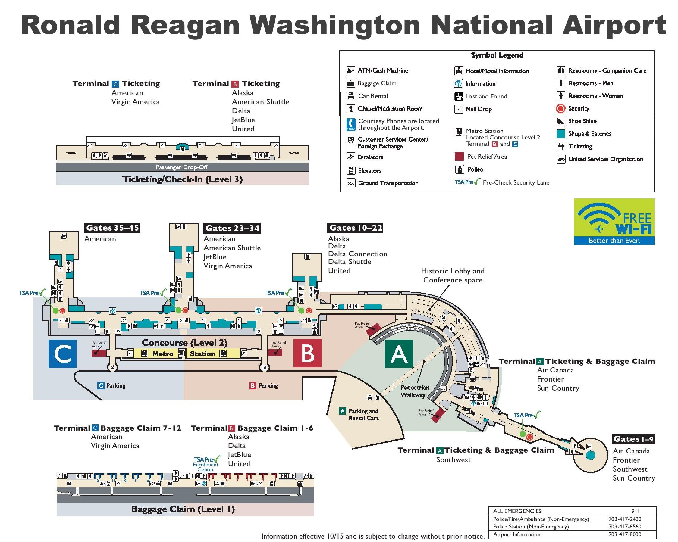 Washington Reagan Airport Map Ronald Reagan Washington National Airport map Washington Reagan Airport Map