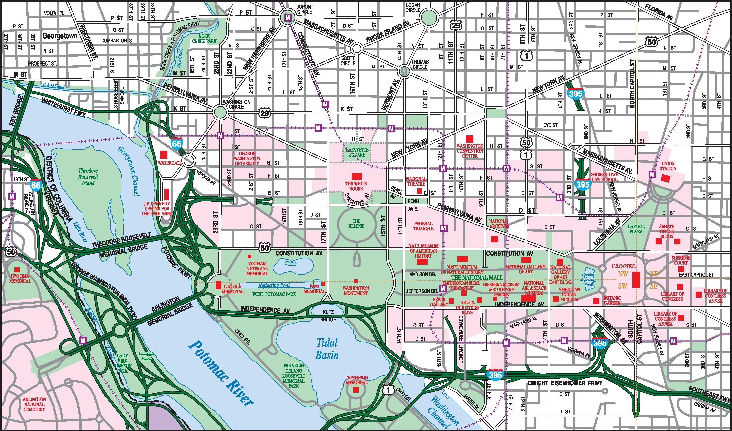 Washington, D.C. downtown map