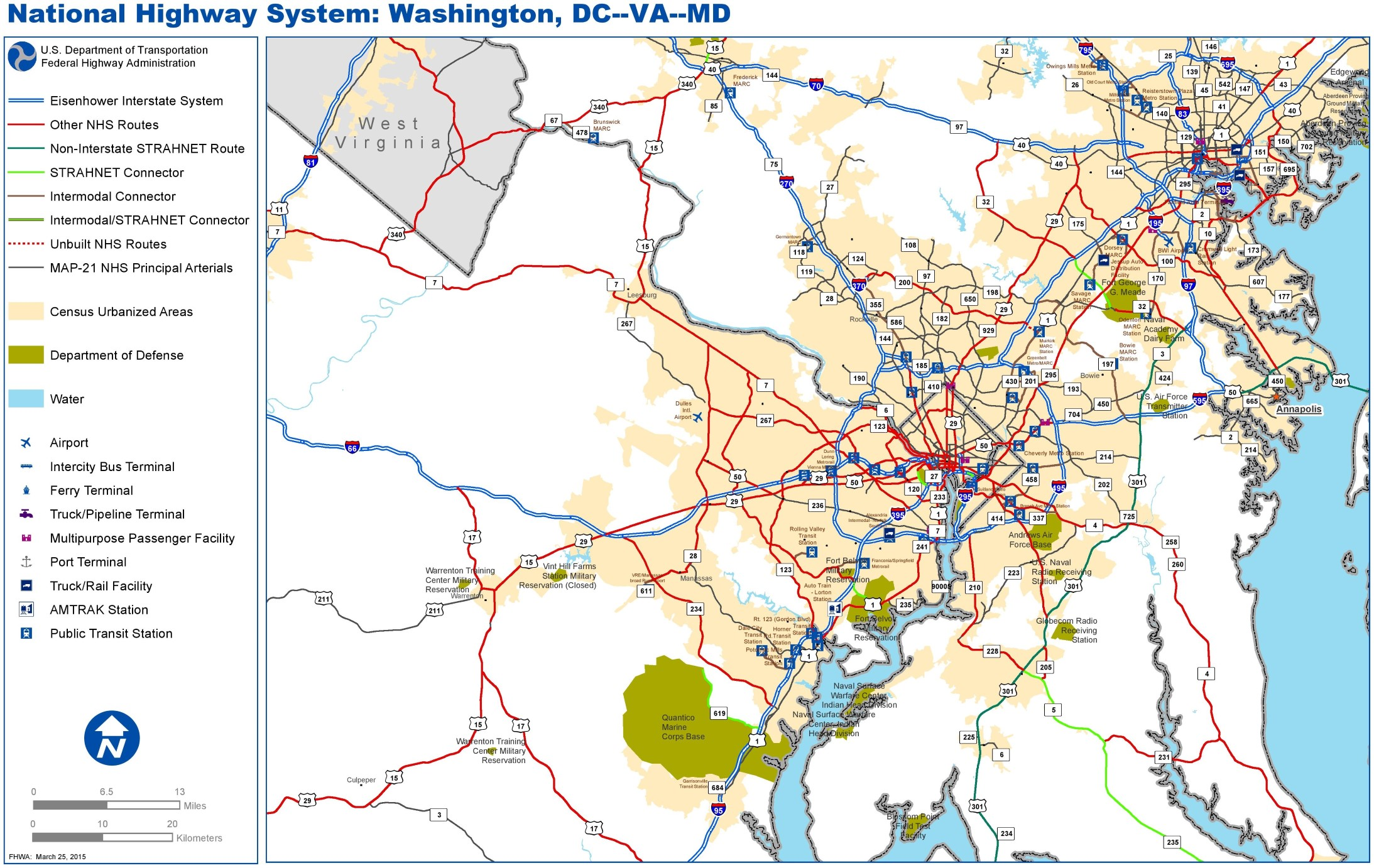 Washington DC Highway Map - Washington dc on map of us