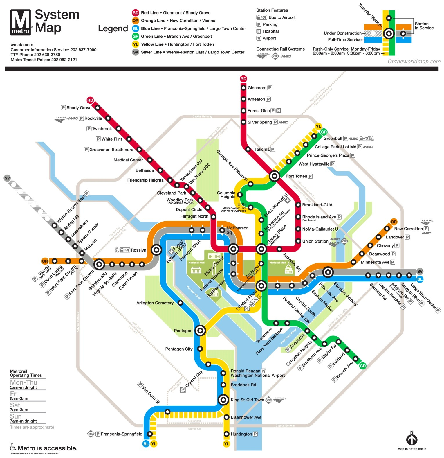 image regarding Washington Dc Printable Map named Washington, D.C. metro map