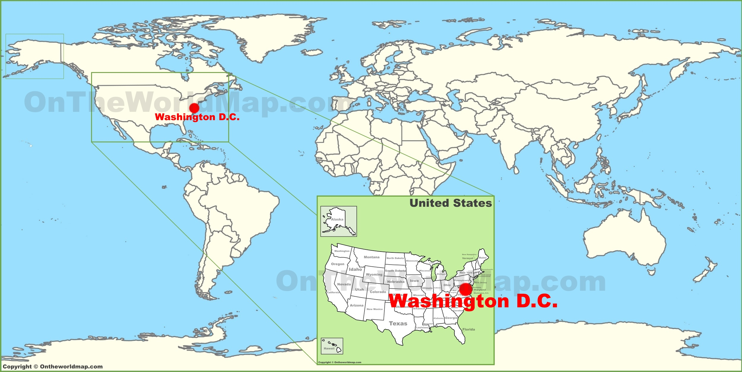 Washington D.C. on the World Map