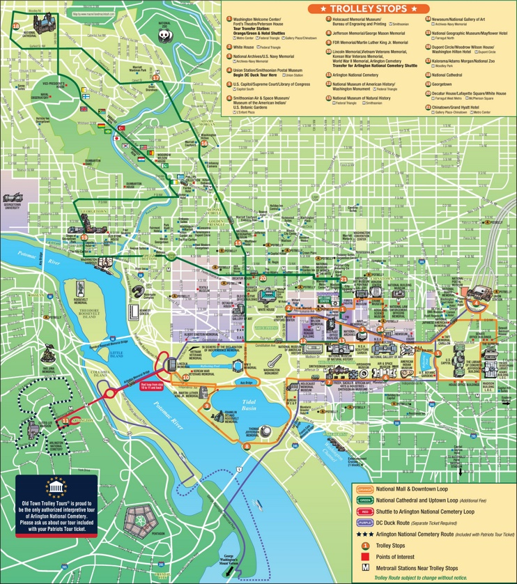 Washington, D.C. tourist attractions map