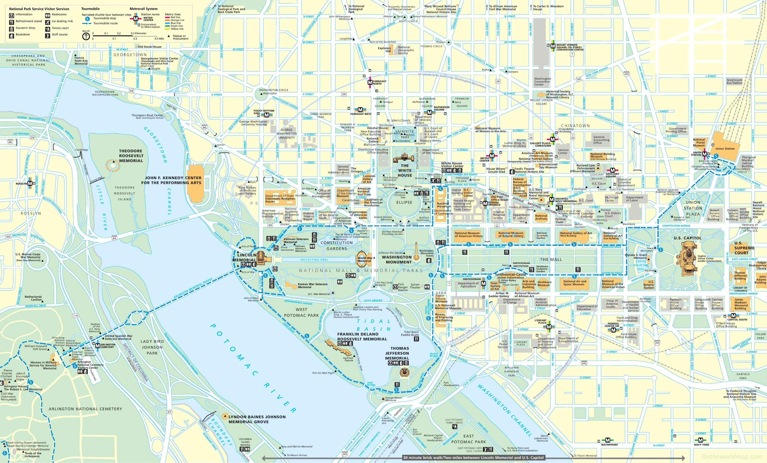 Washington DC tourist map – Washington Tourist Map