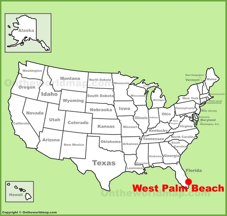 West Palm Beach location on the U.S. Map