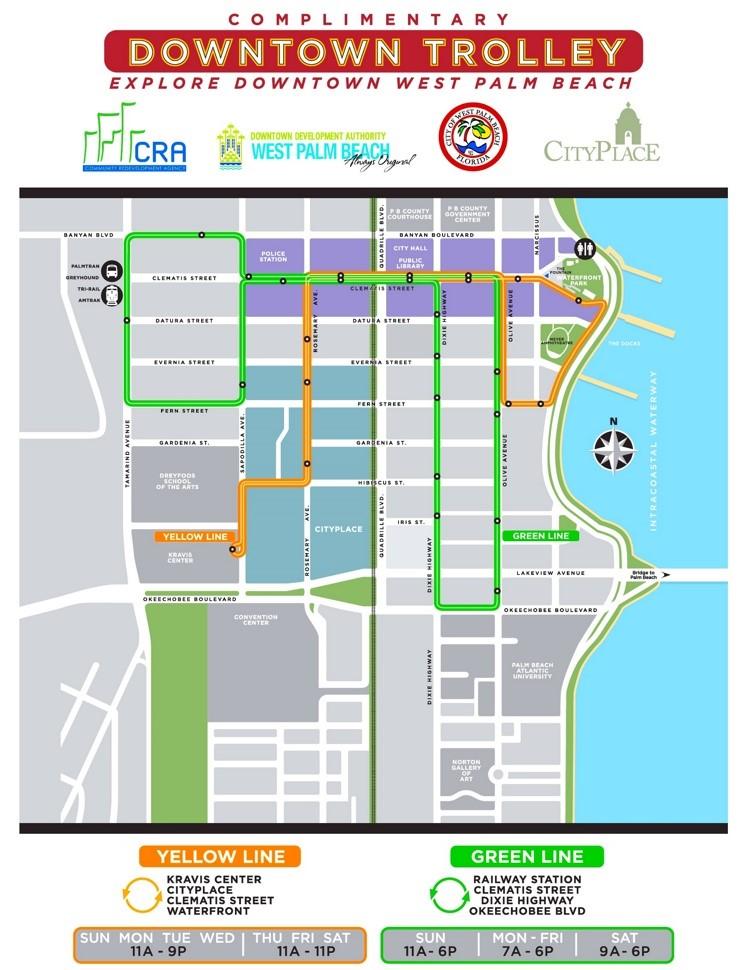 west palm beach trolley map