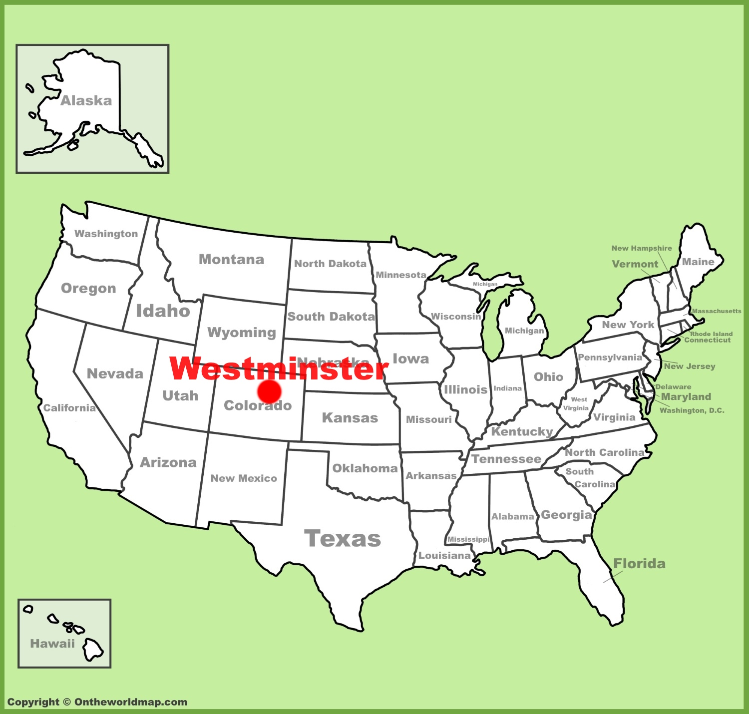 Westminster location on the US Map