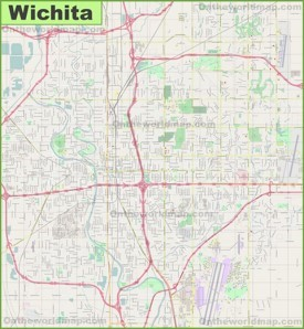 Large detailed map of Wichita