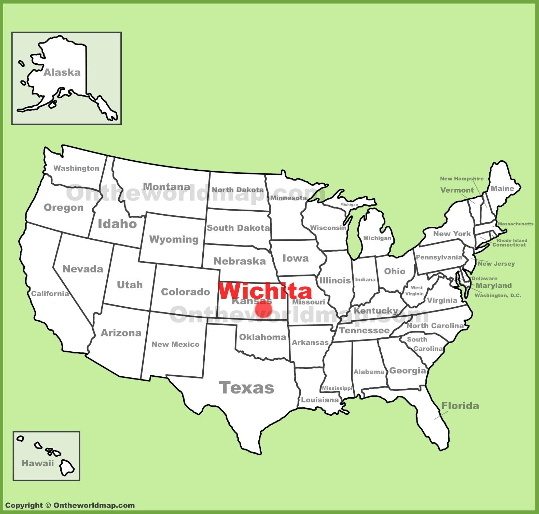 Wichita location on the US Map