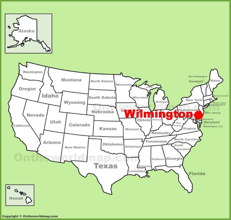 Wilmington location on the U.S. Map