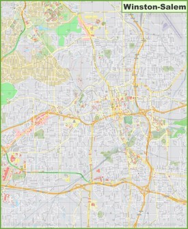 Large detailed map of Winston-Salem