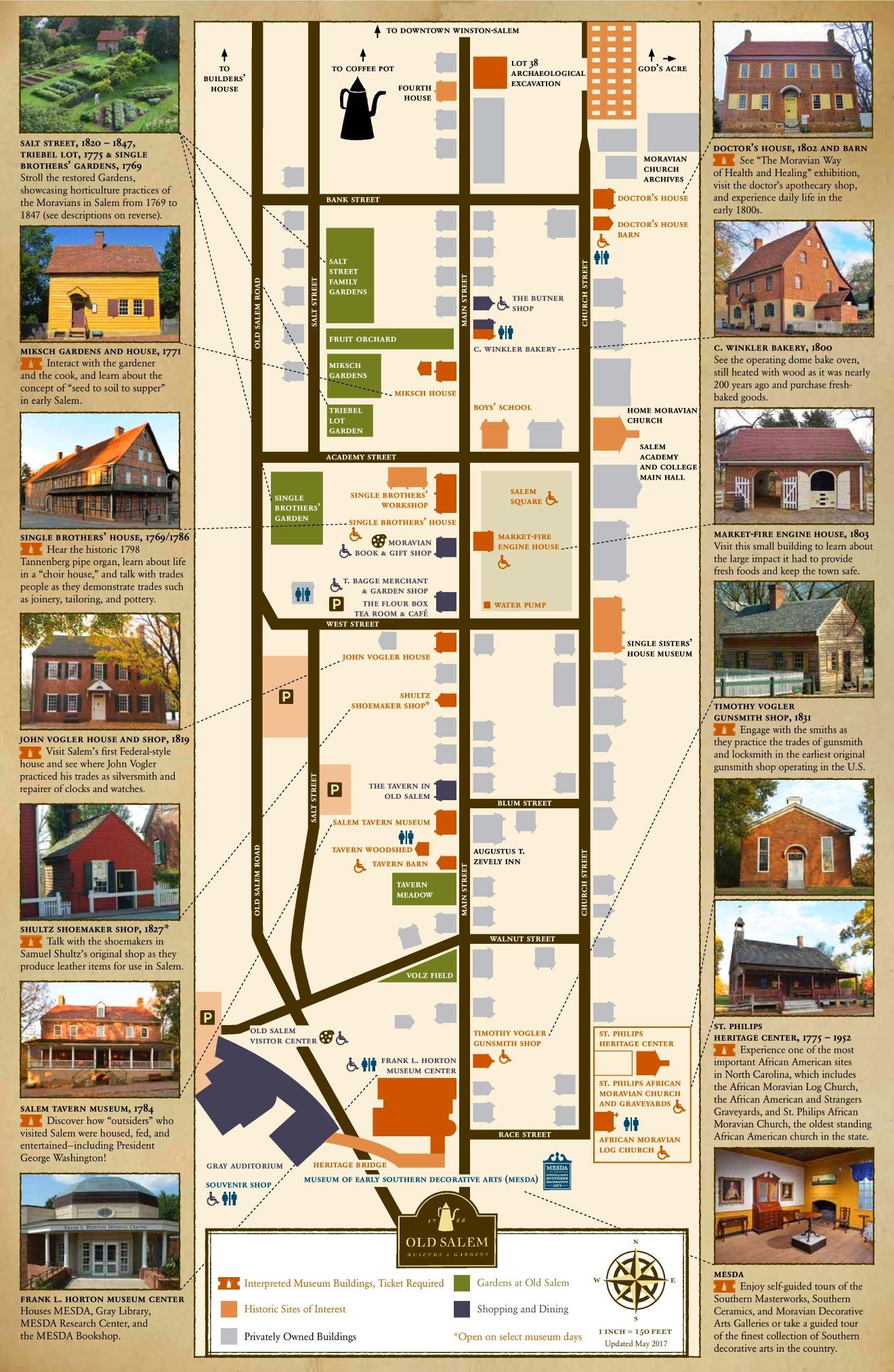 Old Salem Nc Map.Old Salem Sightseeing Map