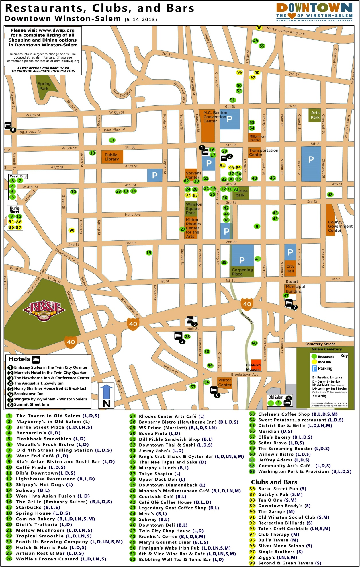 WinstonSalem downtown restaurant map