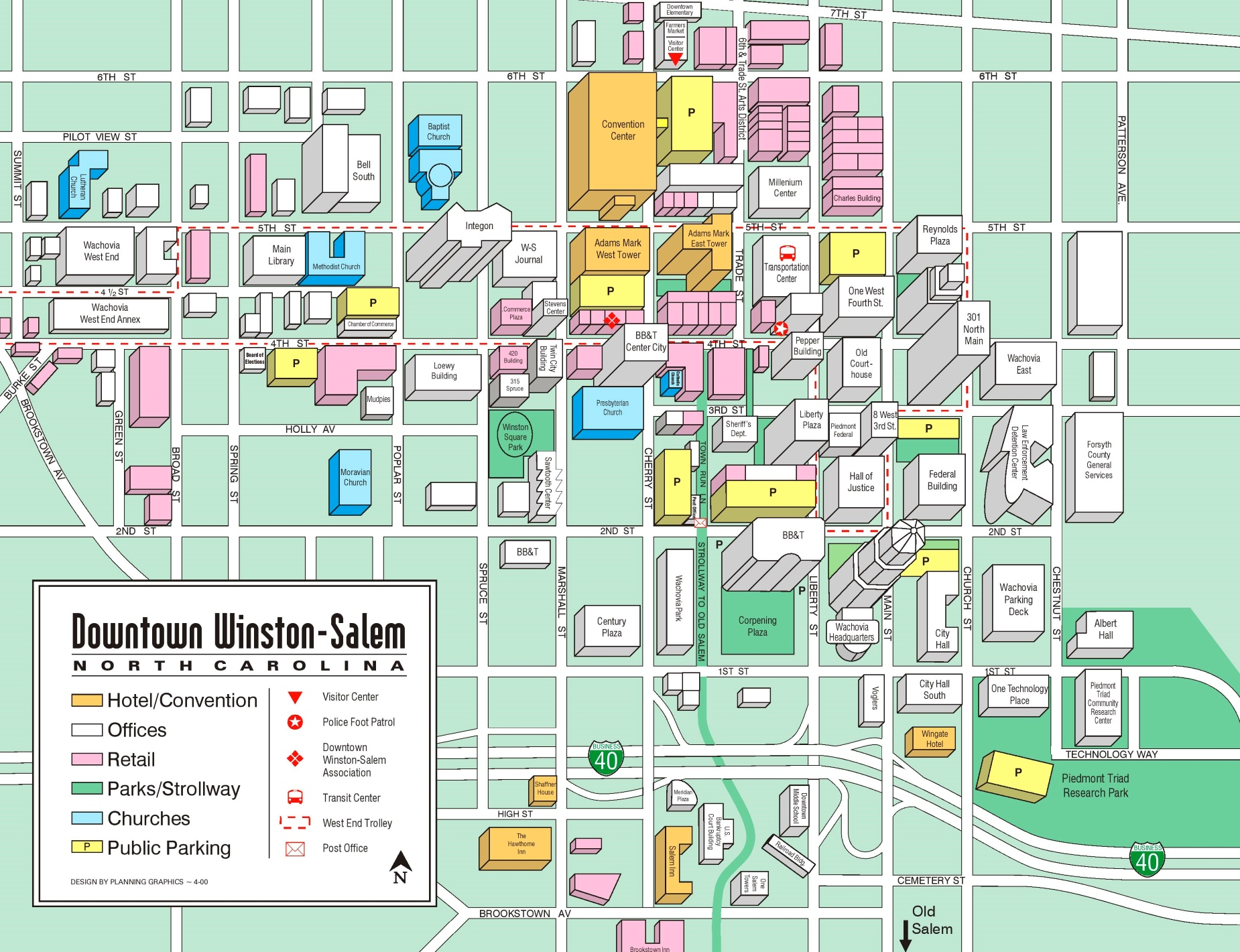 Winston Salem Map Winston Salem downtown tourist map