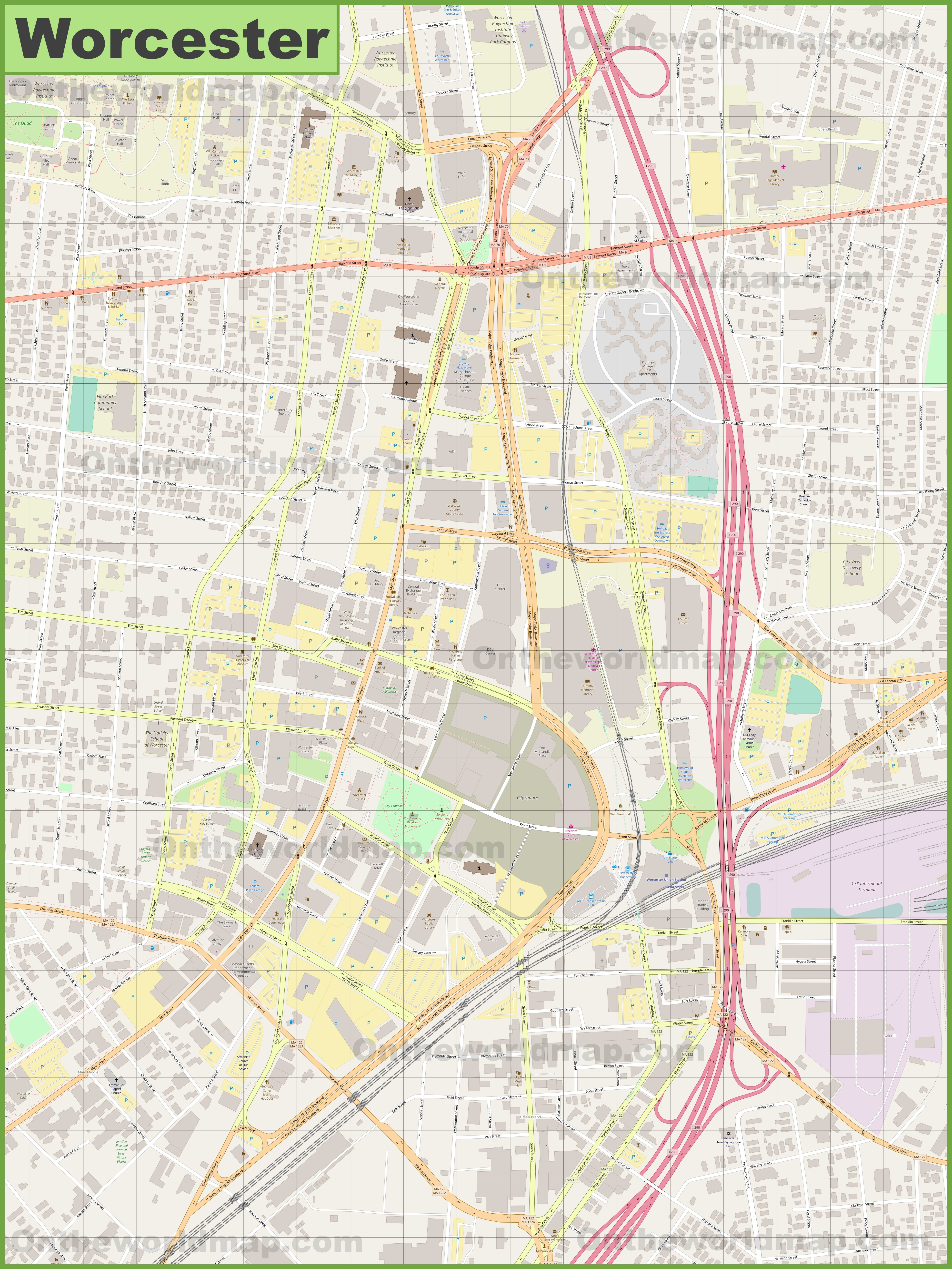 Worcester downtown map