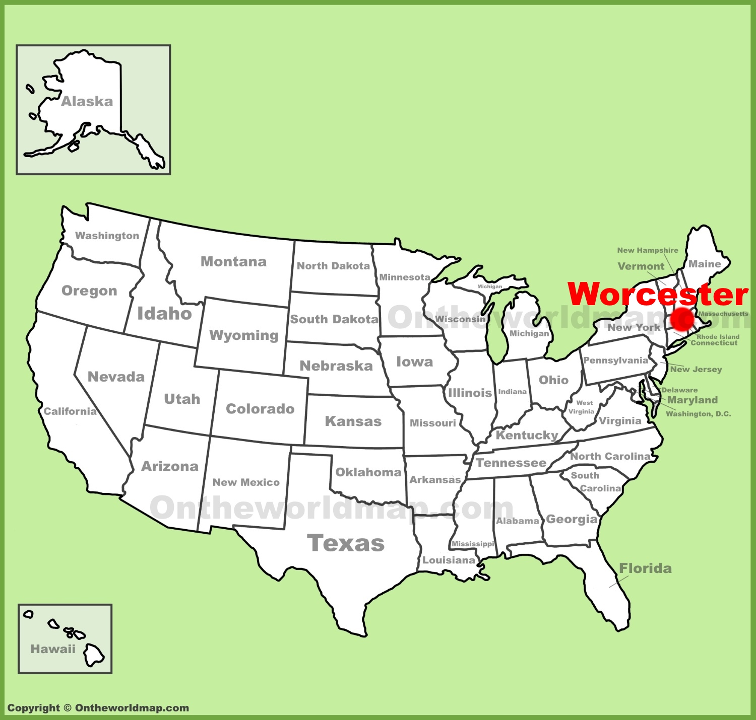 Worcester location on the US Map