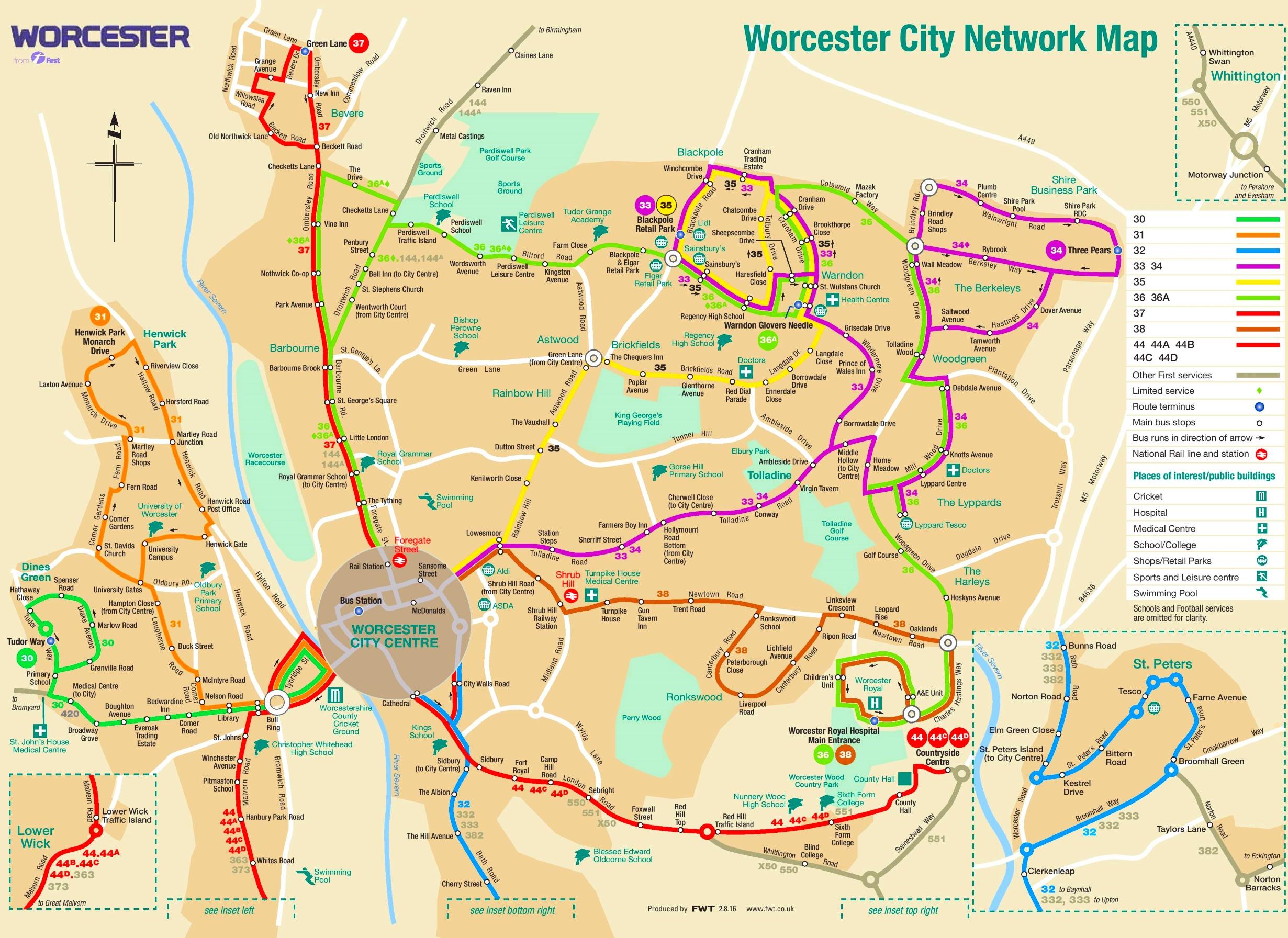 Worcester transport map