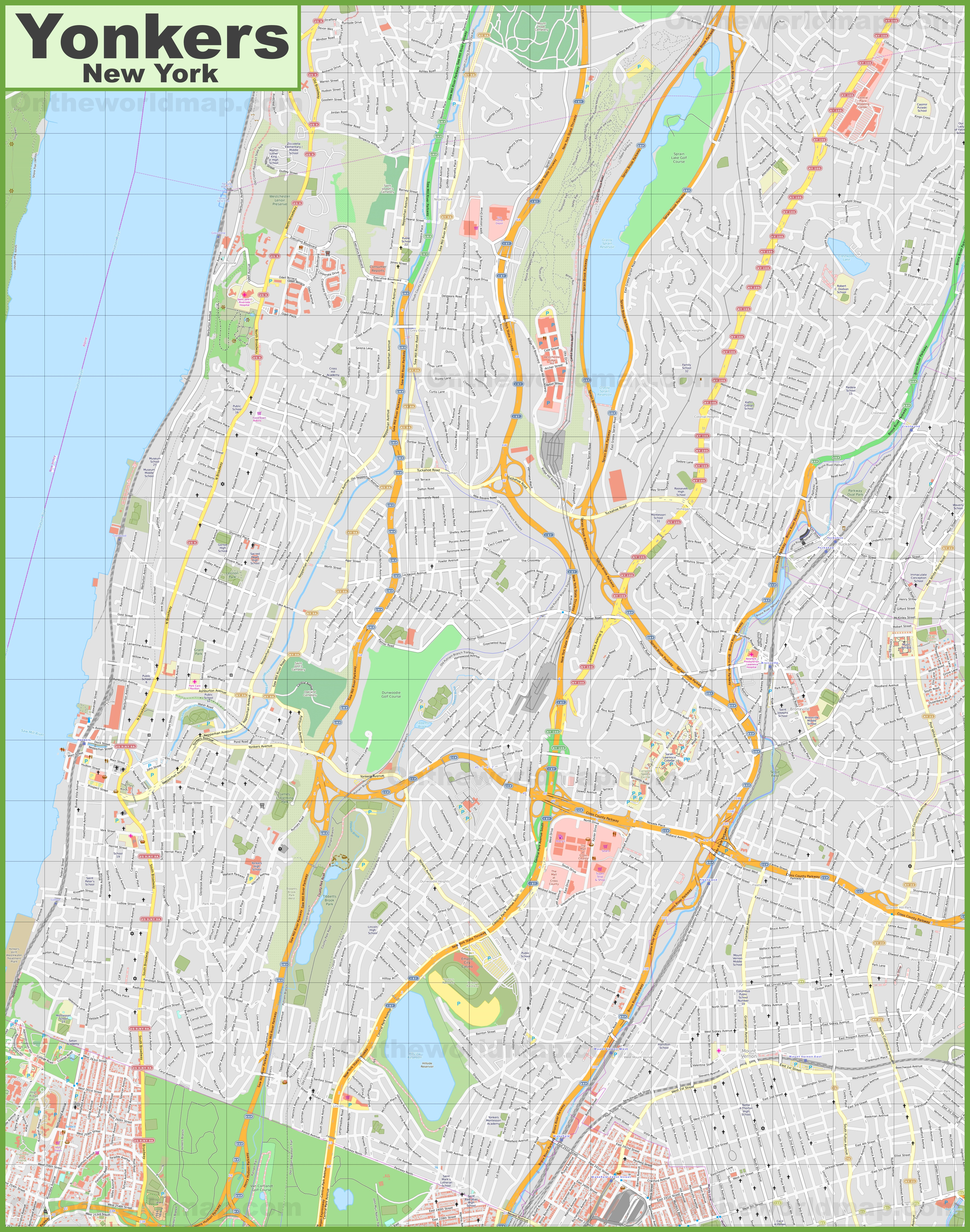 Large detailed map of Yonkers on