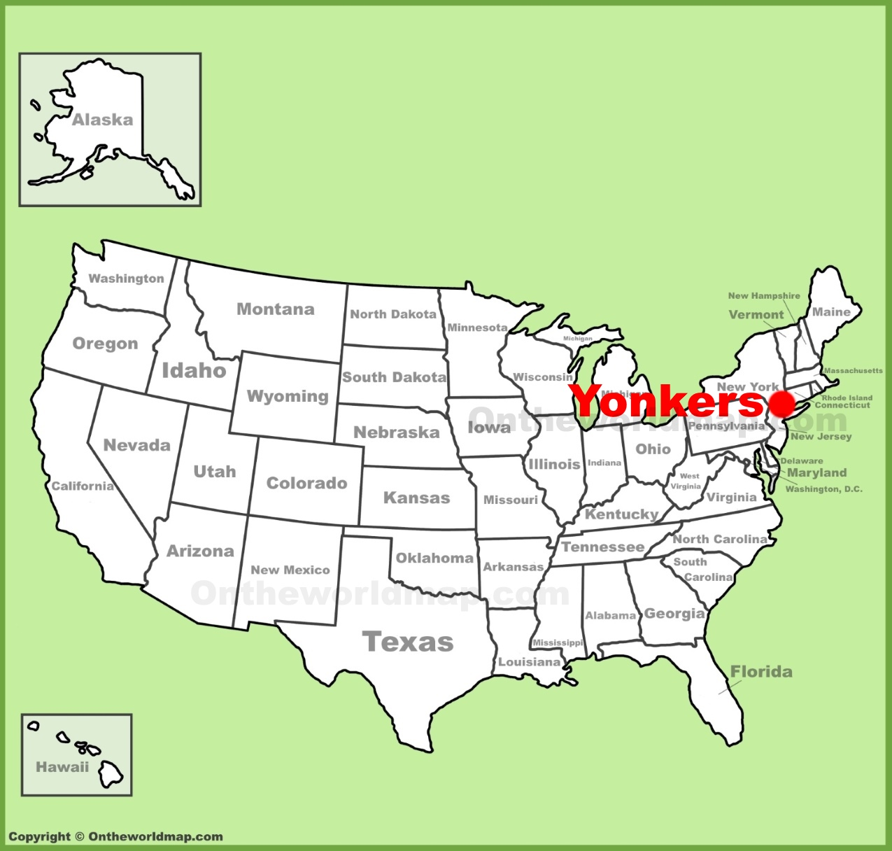 Yonkers location on the US Map