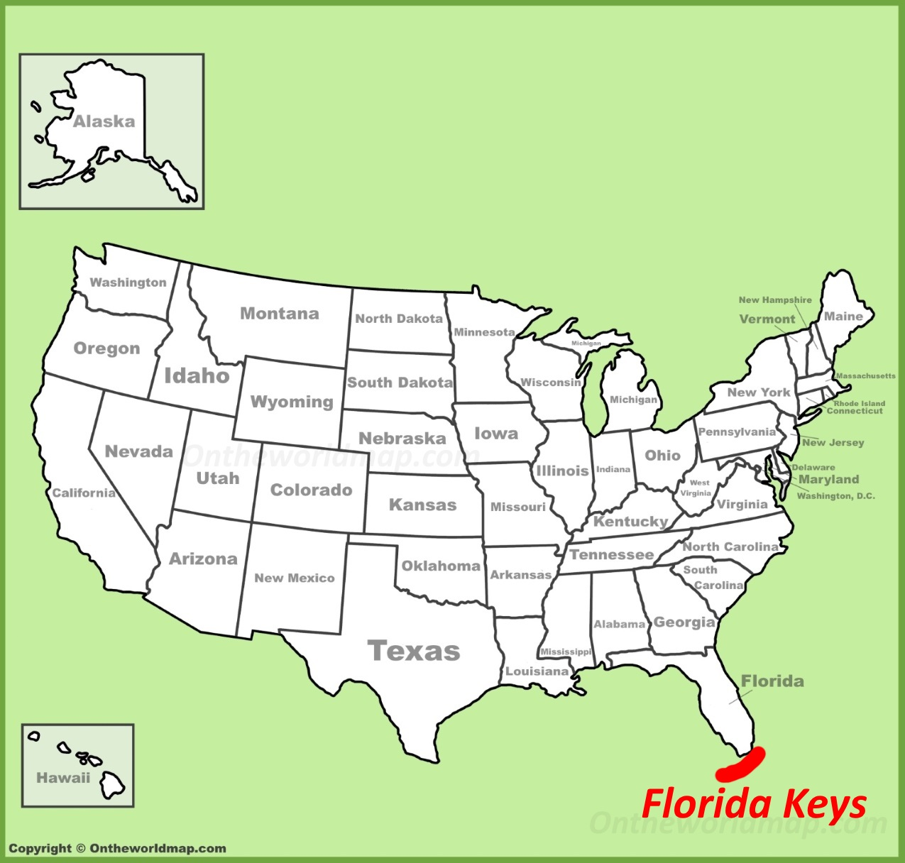 Florida On The Us Map Florida Keys location on the U.S. Map