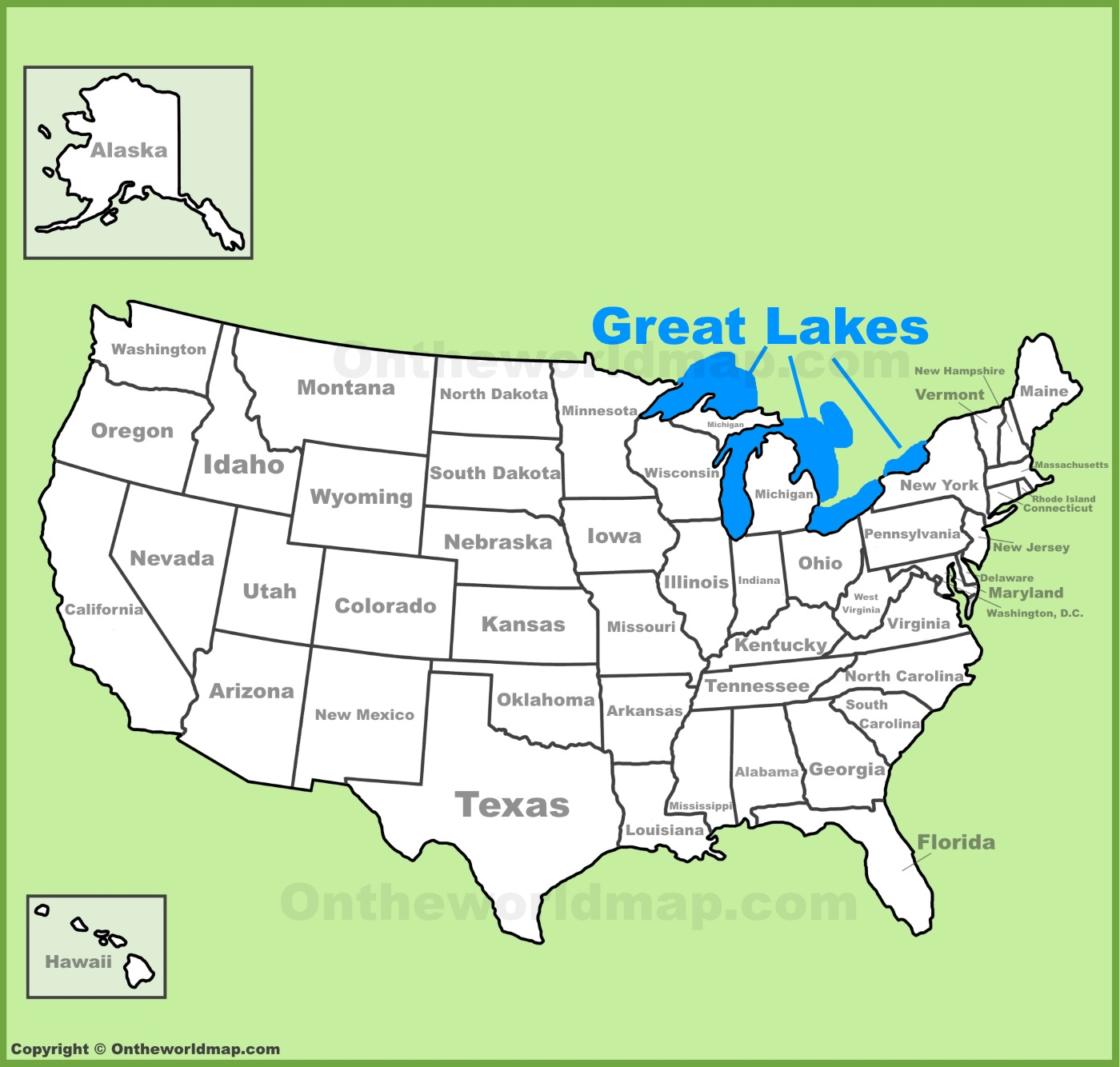 Great Lakes location on the U.S. Map