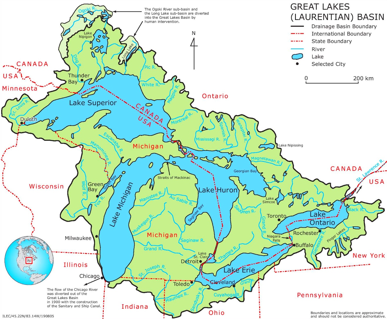 Map Of Great Lakes Map of Great Lakes with rivers Map Of Great Lakes