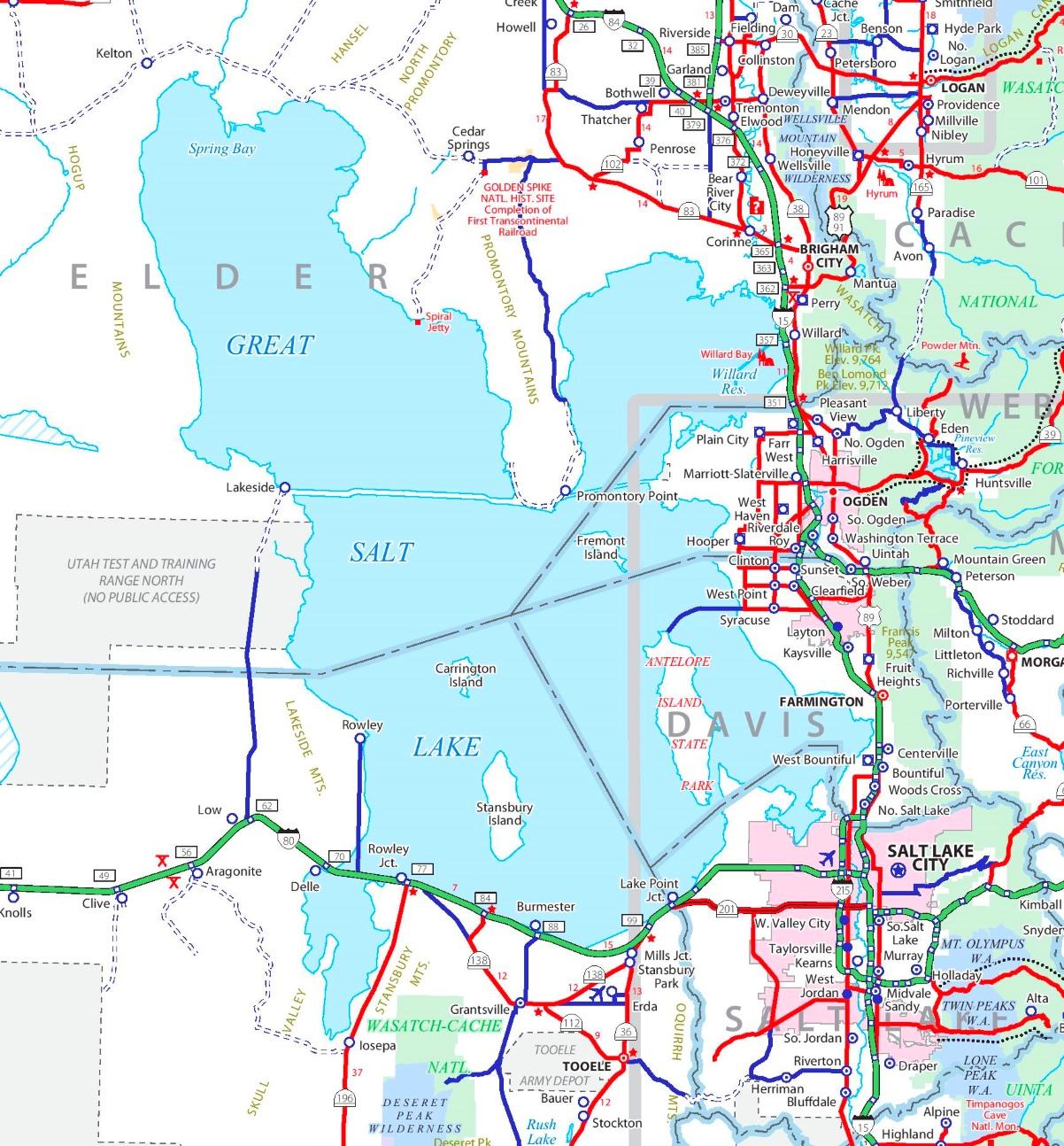 Great Salt Lake road map