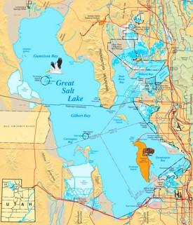 Large detailed map of Great Salt Lake