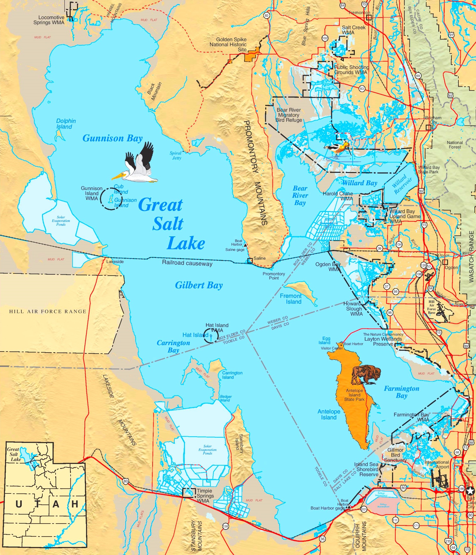 Great Salt Lake On Us Map Large detailed map of Great Salt Lake