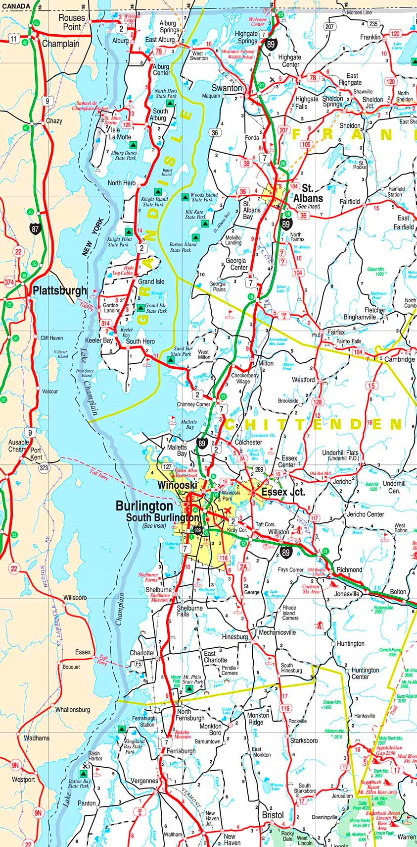 lake champlain on map Lake Champlain Road Map lake champlain on map