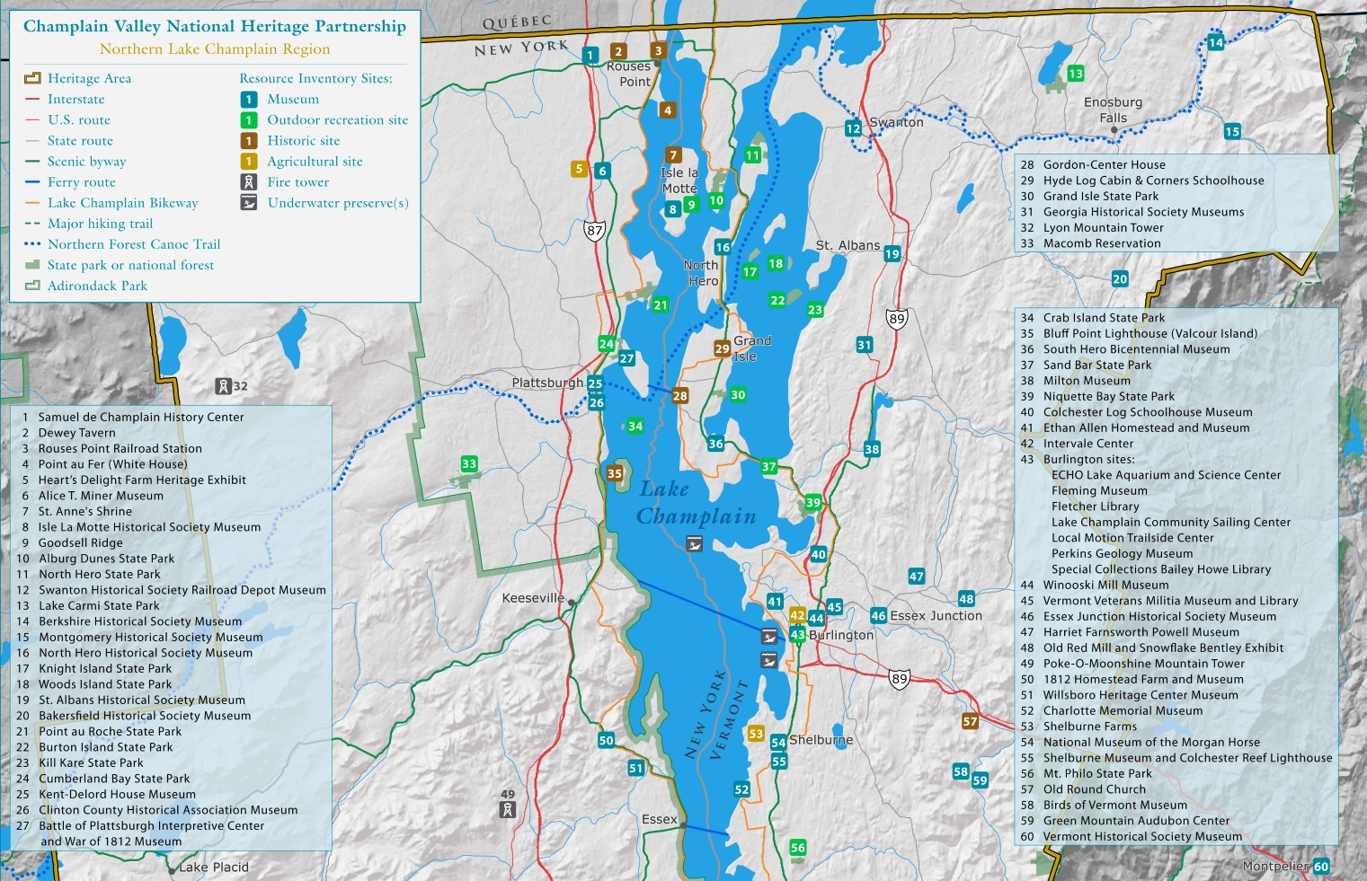 Lake Champlain Map Lake Champlain tourist map