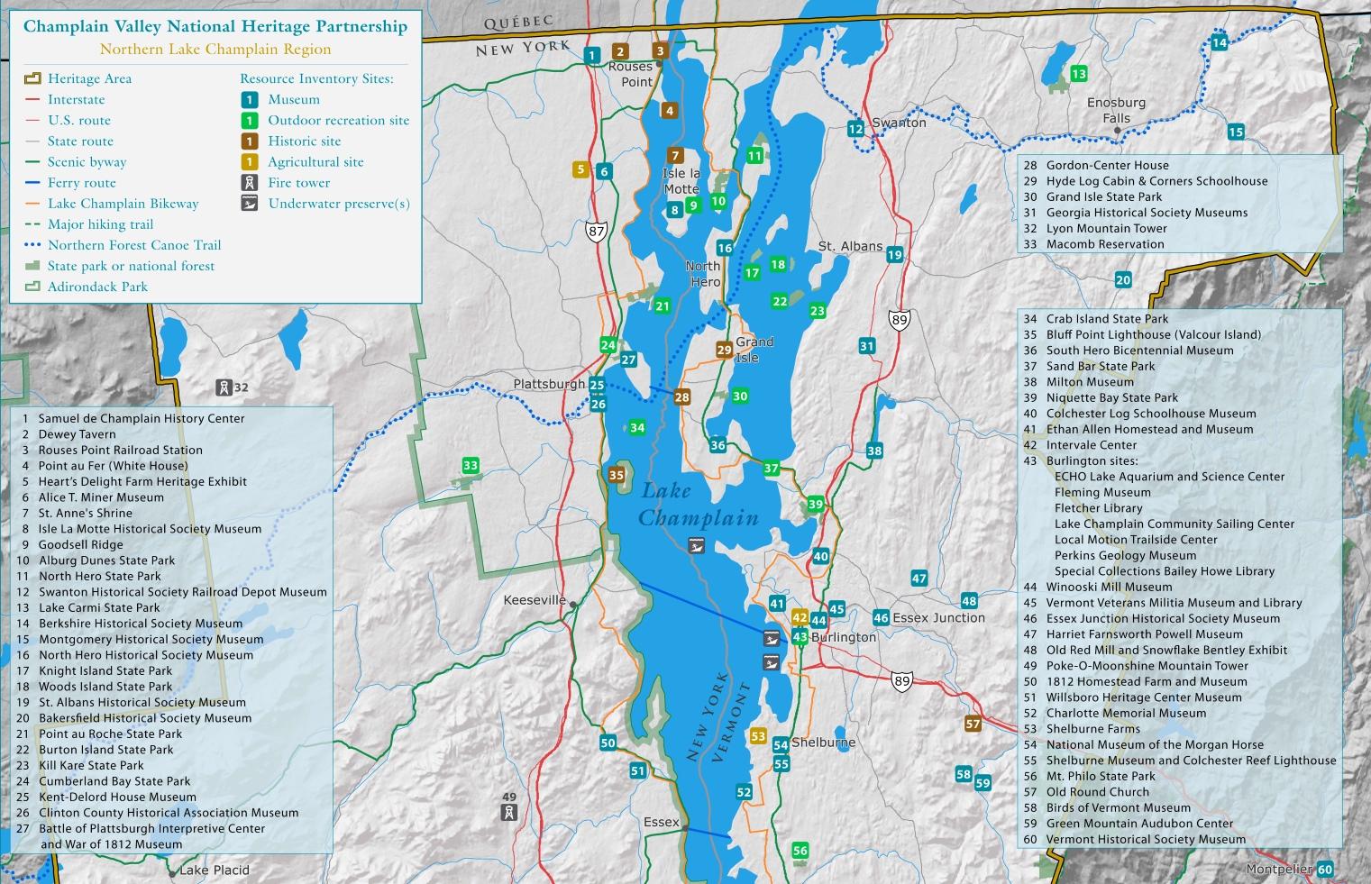 Lake Champlain Maps Maps of Lake Champlain