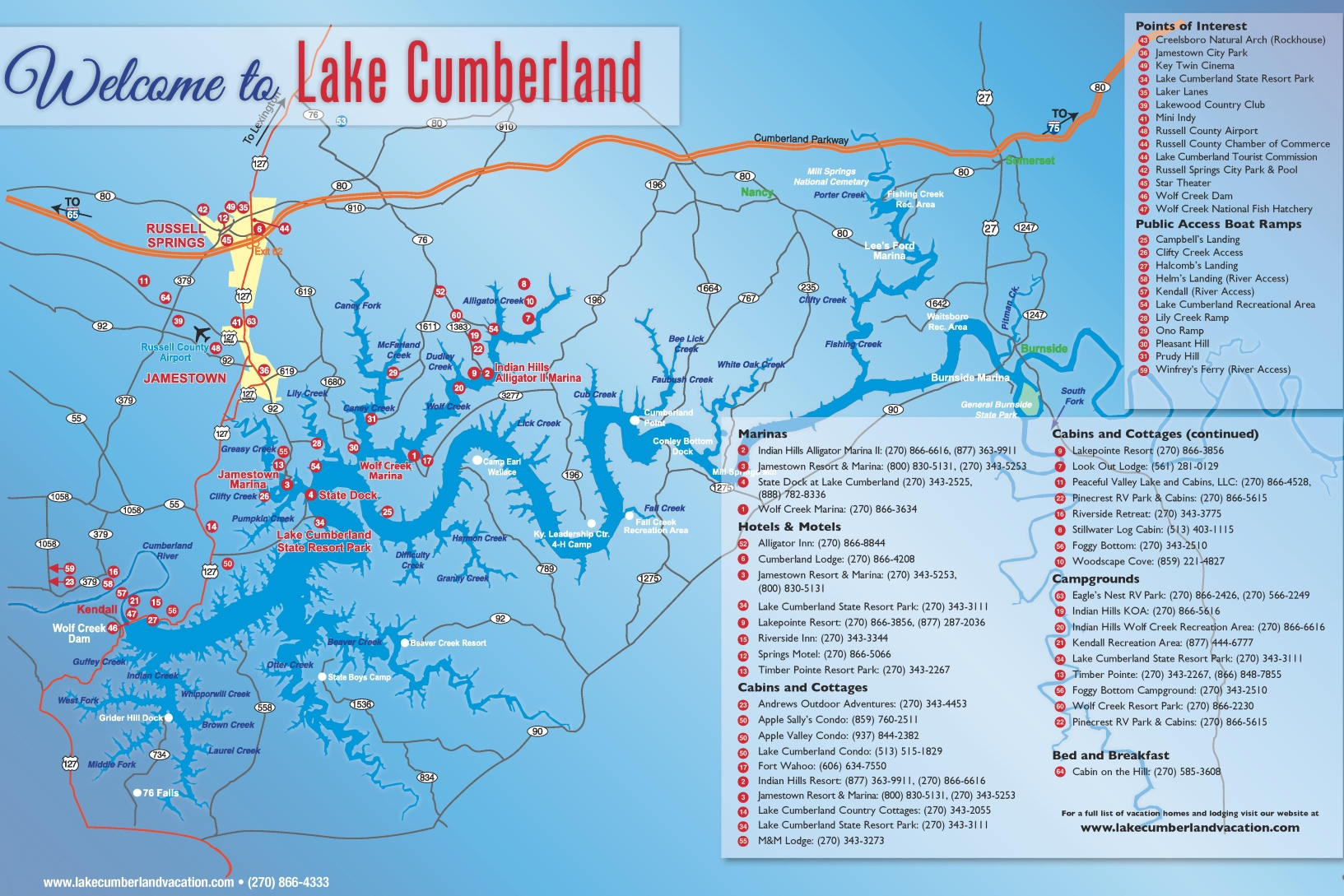 Lake Cumberland tourist map
