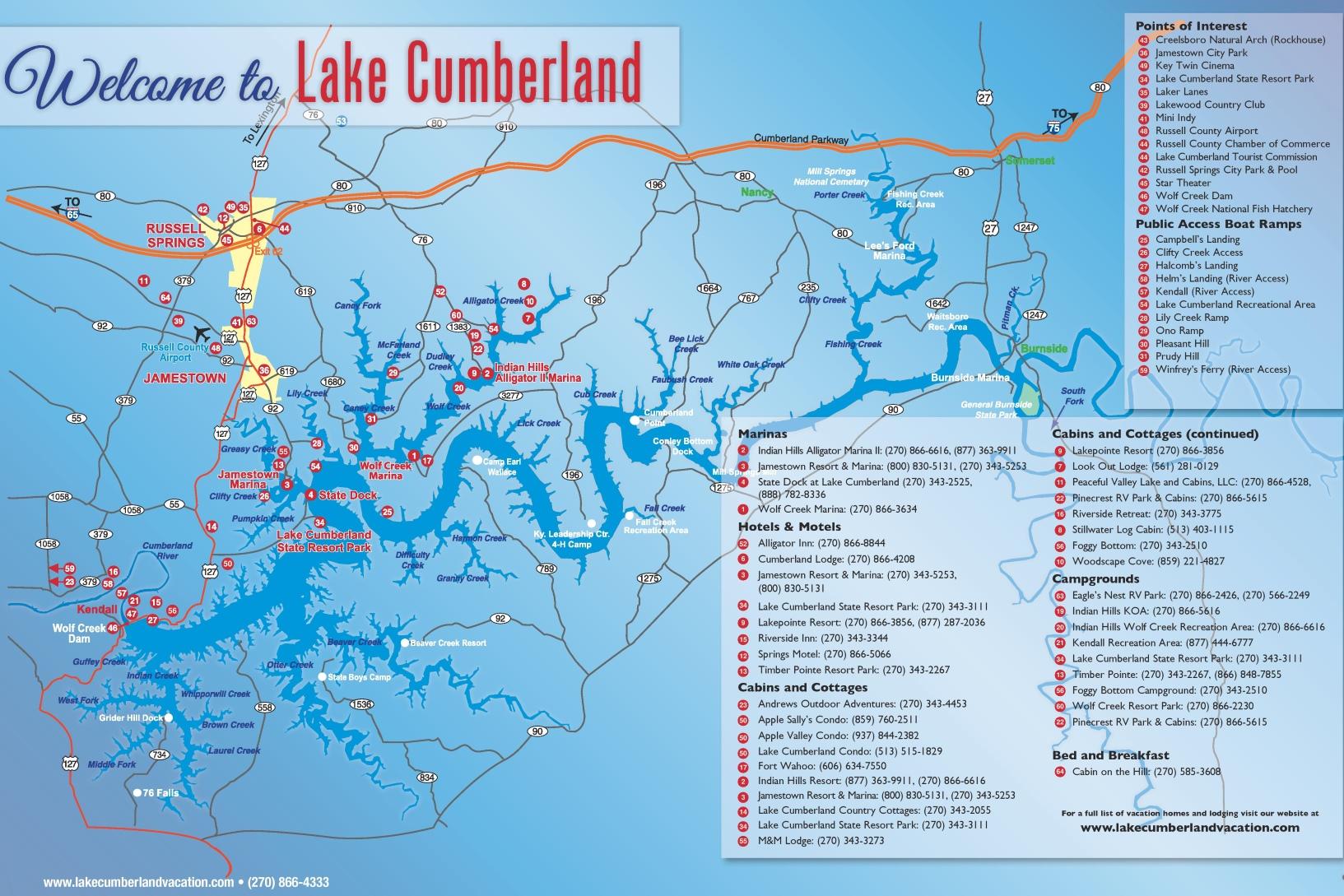 Map Of Lake Cumberland Lake Cumberland tourist map Map Of Lake Cumberland