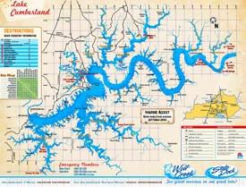 Large detailed map of Lake Cumberland