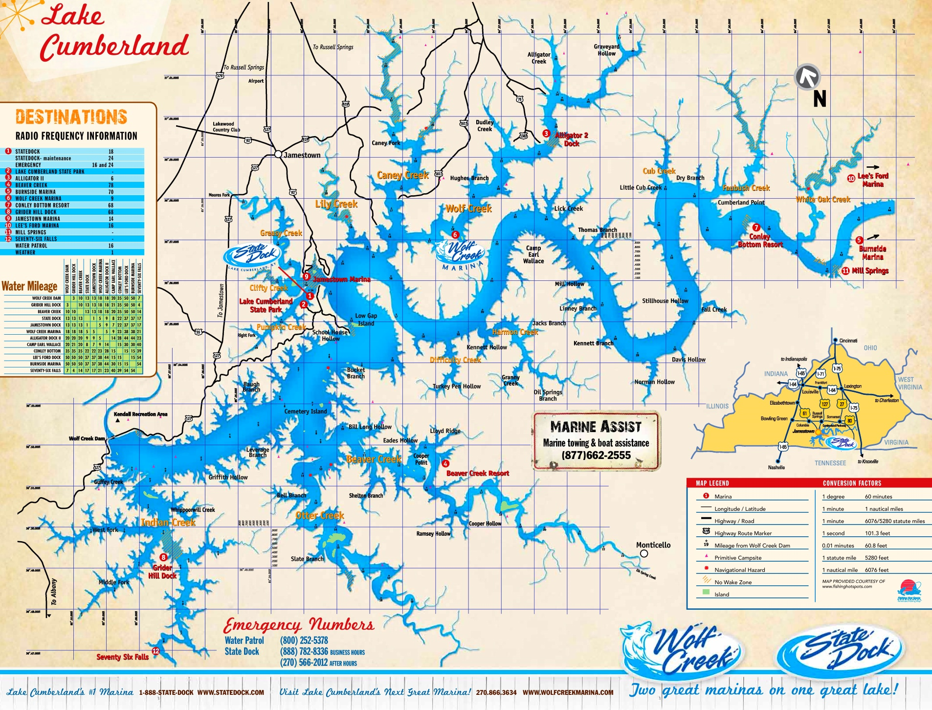 Large detailed map of Lake Cumberland