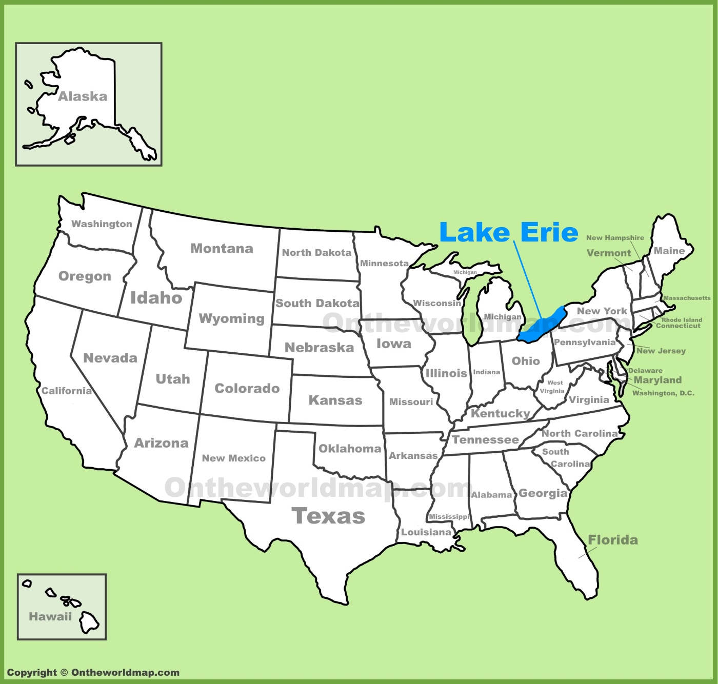 Lake Erie location on the US Map