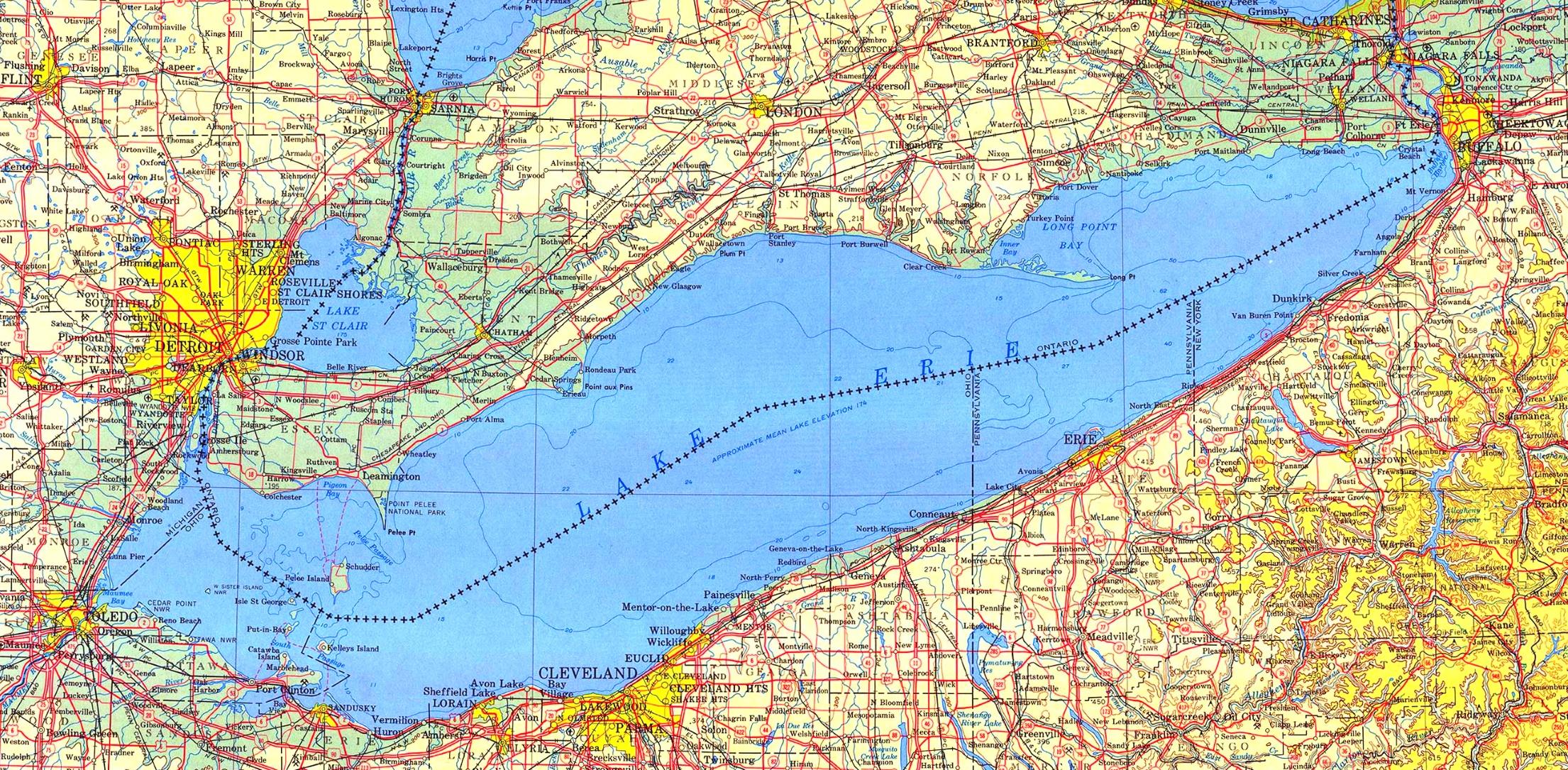 Lake Erie Map Large detailed map of Lake Erie Lake Erie Map