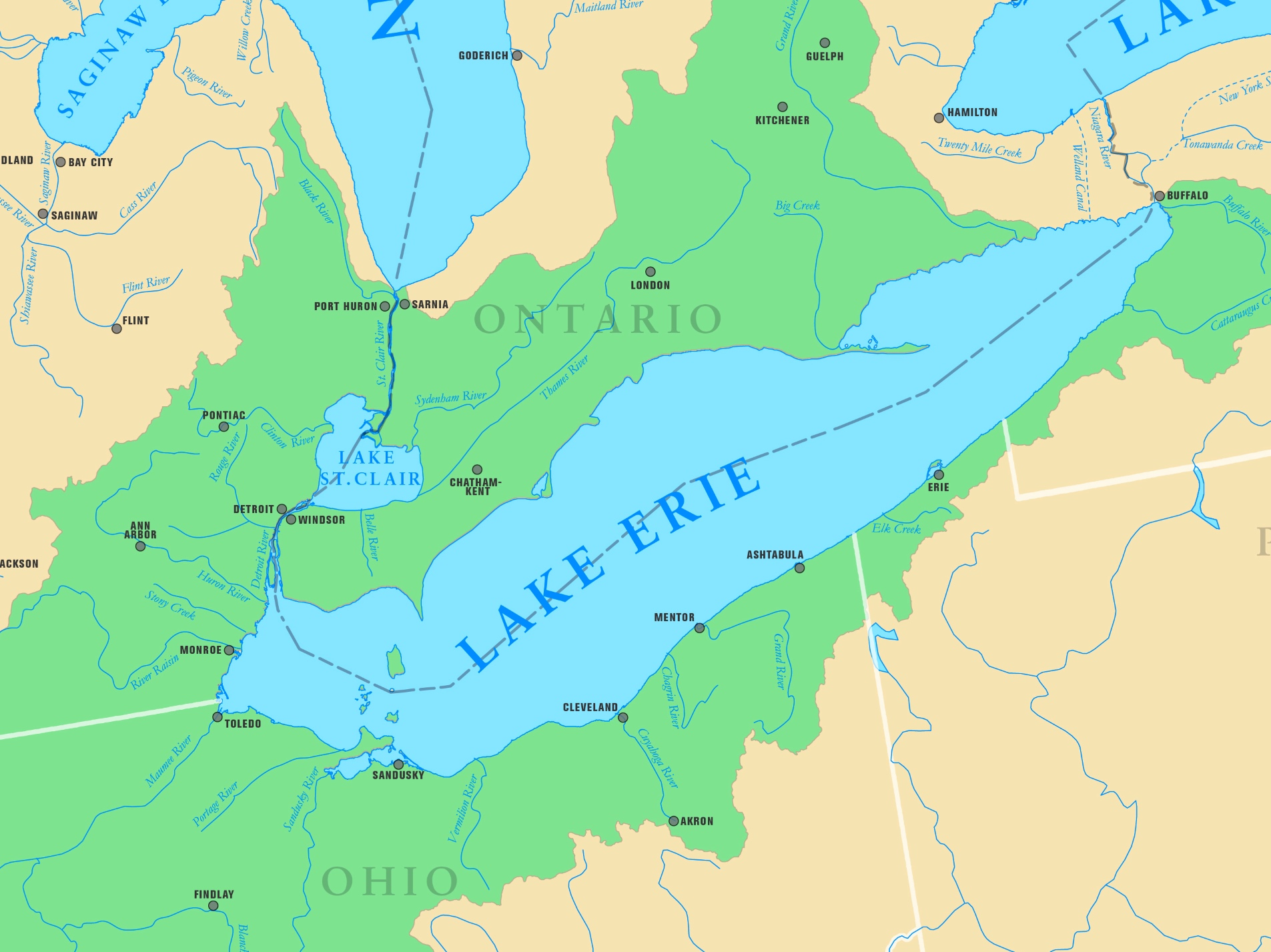 Lake Erie Map Map of Lake Erie with cities and rivers Lake Erie Map