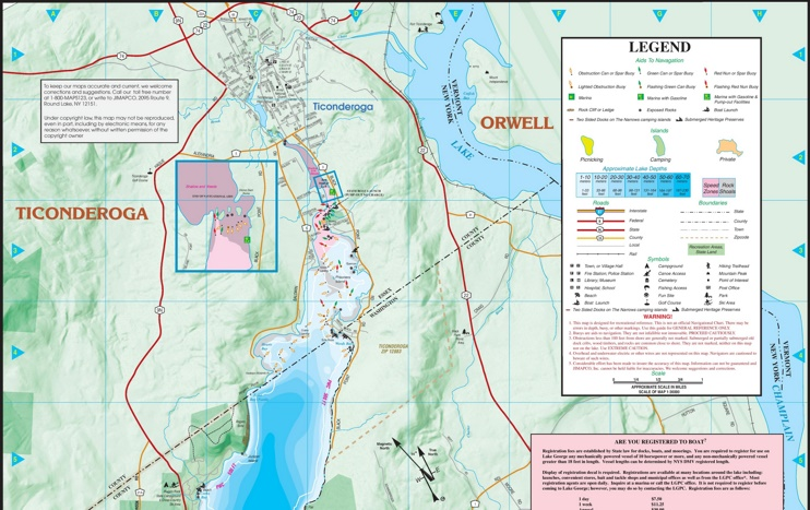 Large detailed tourist map of Lake George (part-1, North)