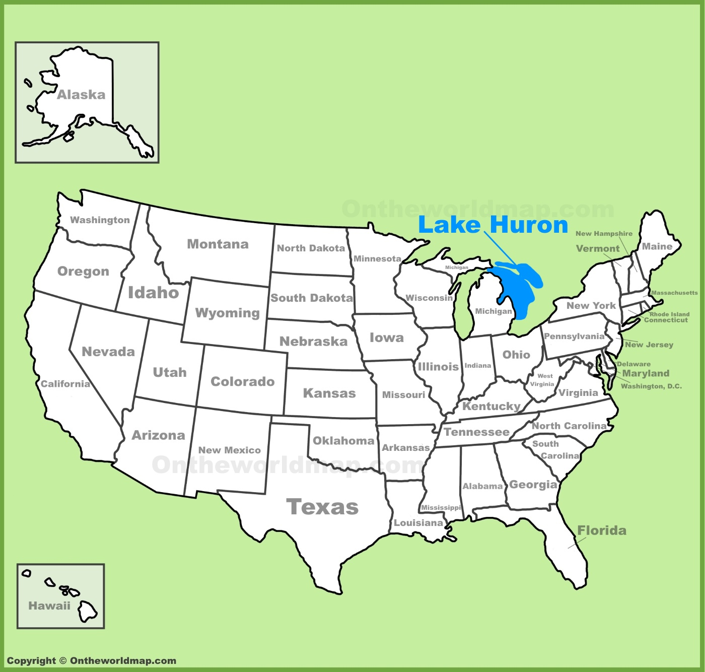 Lake Huron On Us Map Lake Huron location on the U.S. Map