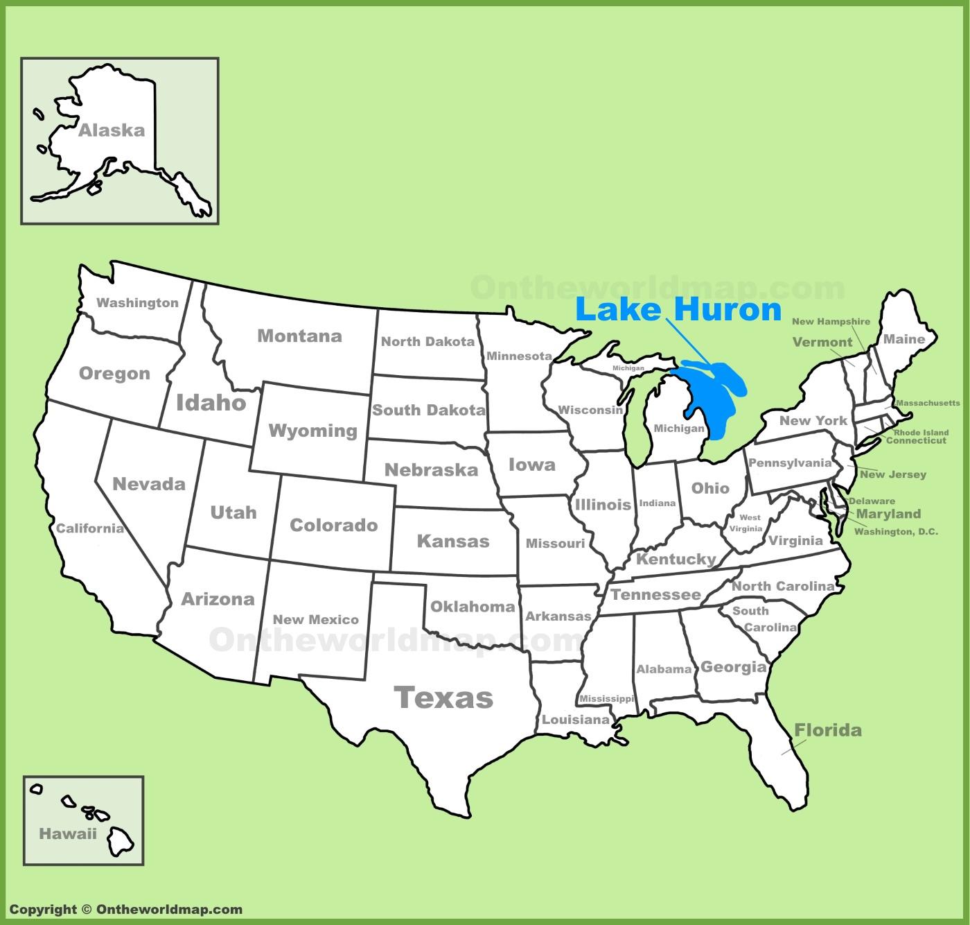 Lake Huron Location On The US Map - Lake huron on us map
