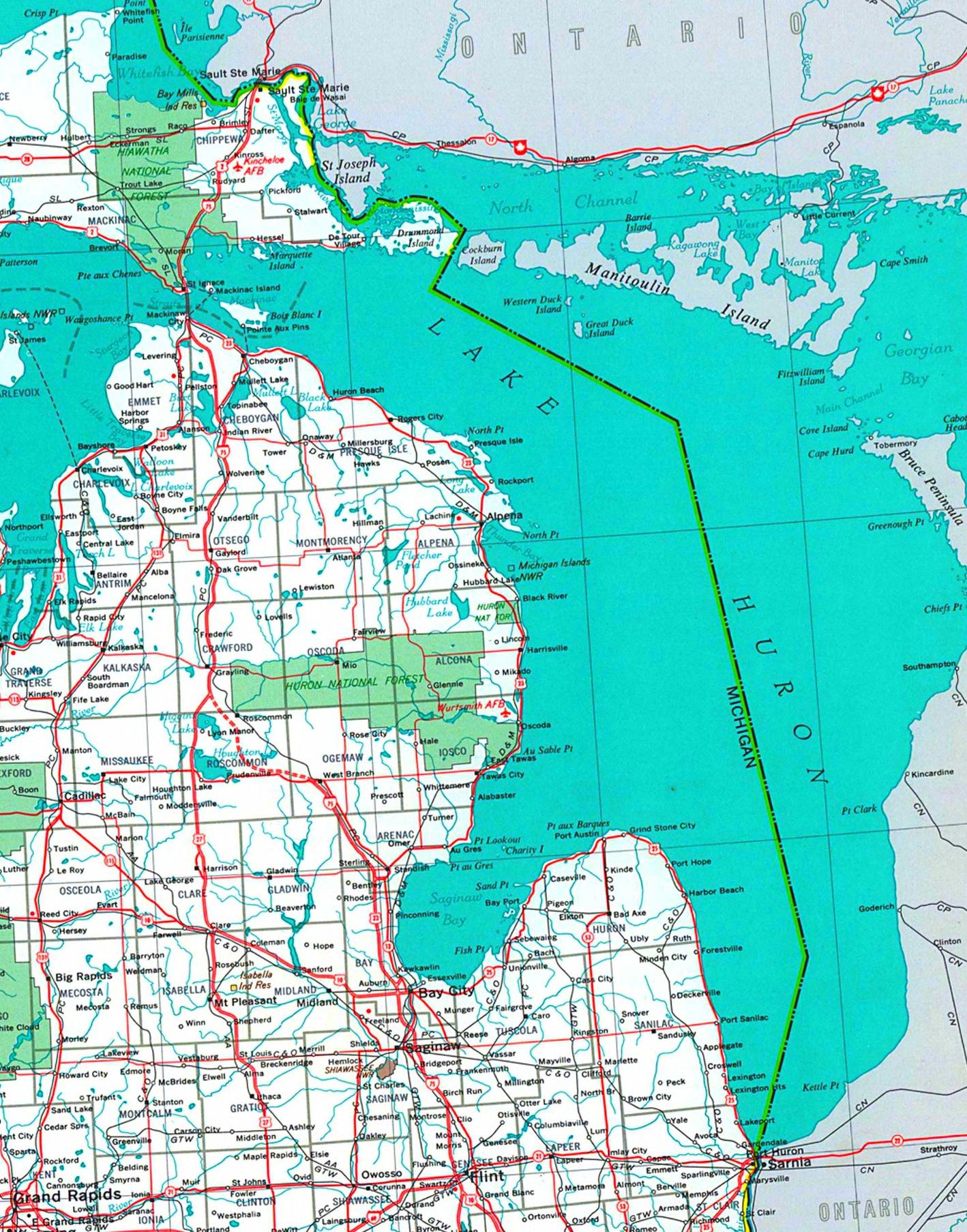 Lake Huron Map Large detailed tourist map of Lake Huron