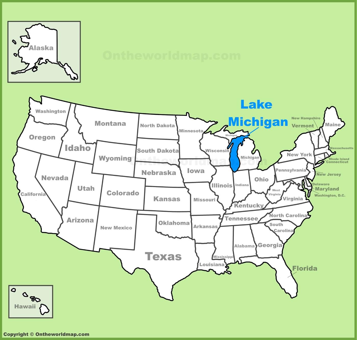 Michigan On Us Map Lake Michigan location on the U.S. Map Michigan On Us Map