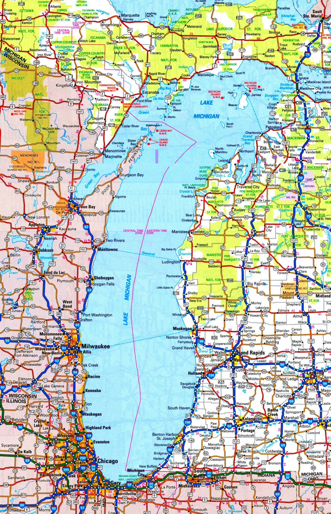 Lake Michigan road map