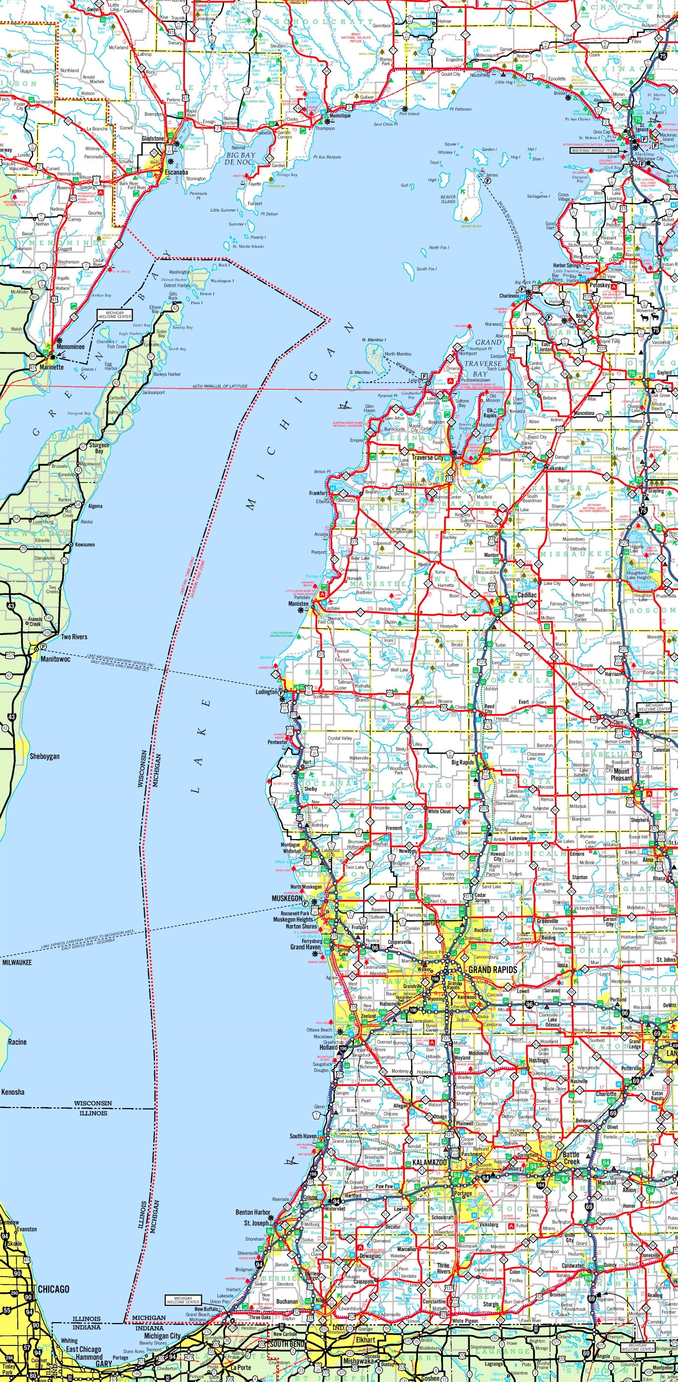 Lake Michigan Maps Maps of Lake Michigan